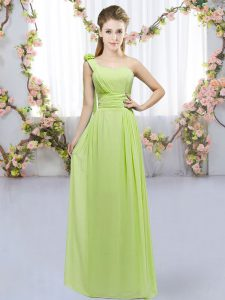 Simple Yellow Green Sleeveless Hand Made Flower Floor Length Dama Dress for Quinceanera