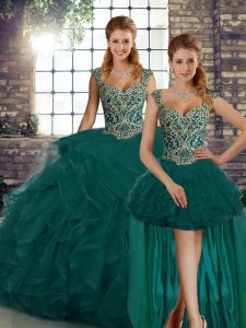 Wonderful Peacock Green Lace Up Straps Beading and Ruffles Sweet 16 Dress Tulle Sleeveless