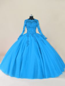 Dramatic Blue Sweet 16 Quinceanera Dress Sweet 16 and Quinceanera with Lace and Appliques Scalloped Long Sleeves Zipper