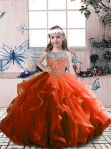 Exquisite Floor Length Rust Red Pageant Dress for Teens Tulle Sleeveless Beading
