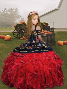 Sweet Sleeveless Embroidery Floor Length Pageant Gowns For Girls