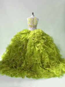 Fashion Olive Green Two Pieces Scoop Sleeveless Organza Brush Train Zipper Beading and Ruffles Sweet 16 Dresses