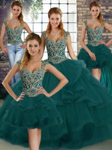 Peacock Green Sleeveless Tulle Lace Up Ball Gown Prom Dress for Military Ball and Sweet 16 and Quinceanera