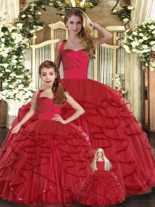Vintage Red Ball Gowns Ruffles Quinceanera Dresses Lace Up Tulle Sleeveless Floor Length