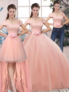 Ball Gowns Quinceanera Gown Pink Off The Shoulder Tulle Short Sleeves Floor Length Lace Up
