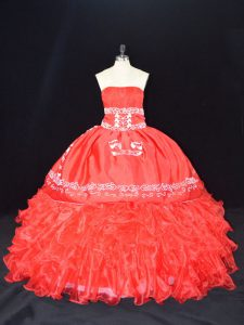 Strapless Sleeveless Lace Up Sweet 16 Dresses Red Organza