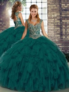Peacock Green 15 Quinceanera Dress Military Ball and Sweet 16 and Quinceanera with Beading and Ruffles Straps Sleeveless Lace Up