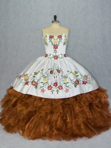 Smart Sleeveless Lace Up Floor Length Embroidery and Ruffles 15th Birthday Dress