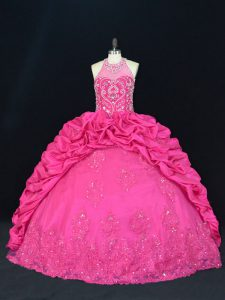 Lace Up 15th Birthday Dress Hot Pink for Sweet 16 and Quinceanera with Beading and Appliques and Embroidery and Pick Ups
