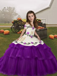 Ball Gowns Glitz Pageant Dress Eggplant Purple Straps Tulle Sleeveless Floor Length Lace Up