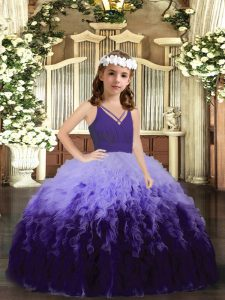 Trendy Multi-color Ball Gowns V-neck Sleeveless Tulle Floor Length Zipper Ruffles Little Girls Pageant Dress Wholesale