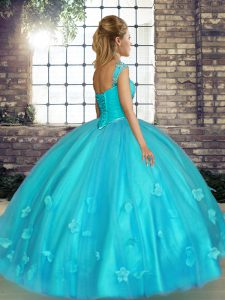 Stylish Off The Shoulder Sleeveless 15 Quinceanera Dress Floor Length Beading and Appliques Watermelon Red Tulle
