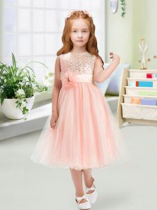 Sleeveless Tea Length Sequins and Hand Made Flower Zipper Flower Girl Dresses for Less with Baby Pink