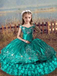 Floor Length Turquoise Little Girl Pageant Dress Off The Shoulder Sleeveless Lace Up