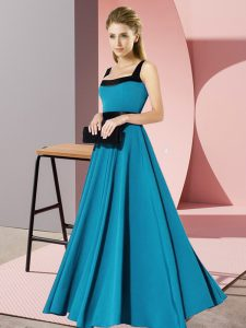Designer Floor Length Zipper Vestidos de Damas Teal for Wedding Party with Belt