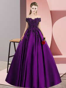Sleeveless Floor Length Lace and Appliques Zipper 15th Birthday Dress with Eggplant Purple