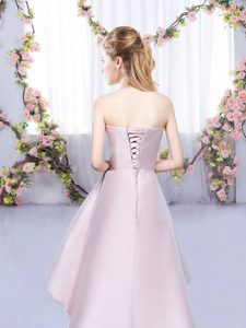 Baby Pink A-line Halter Top Sleeveless Satin High Low Lace Up Ruching Court Dresses for Sweet 16