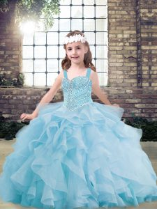 Light Blue Straps Lace Up Beading and Ruffles Girls Pageant Dresses Sleeveless
