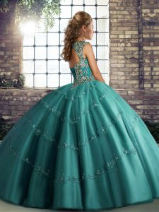 Stunning Olive Green Lace Up Vestidos de Quinceanera Beading and Appliques Sleeveless Floor Length