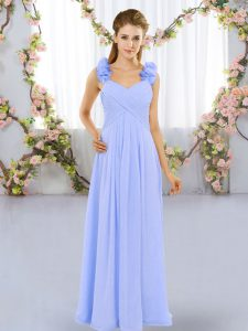 Lavender Chiffon Lace Up Damas Dress Sleeveless Floor Length Hand Made Flower