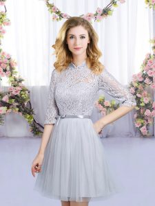 Grey Empire Tulle High-neck Half Sleeves Lace and Belt Mini Length Zipper Vestidos de Damas