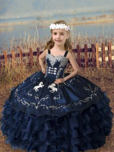 Navy Blue Kids Pageant Dress Wedding Party with Embroidery and Ruffled Layers Straps Sleeveless Lace Up