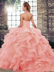 Smart Peach Ball Gowns Sweetheart Sleeveless Tulle Brush Train Lace Up Beading and Ruffles Vestidos de Quinceanera