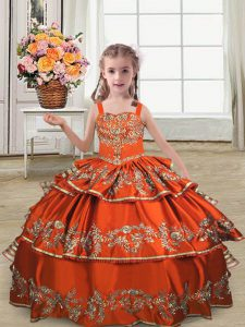 Rust Red Satin Lace Up Little Girls Pageant Dress Sleeveless Floor Length Embroidery and Ruffled Layers