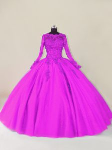 Pretty Scalloped Long Sleeves Quinceanera Gown Floor Length Lace and Appliques Purple Tulle