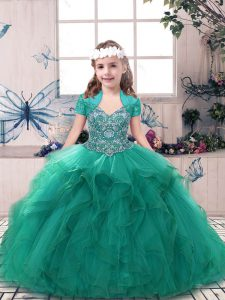 High End Tulle Sleeveless Floor Length Pageant Dress Wholesale and Beading