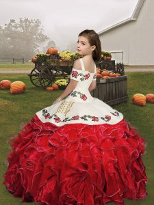 Trendy Ball Gowns Organza Spaghetti Straps Sleeveless Embroidery and Ruffles Floor Length Lace Up Child Pageant Dress