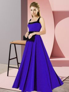 Admirable Blue Sleeveless Belt Floor Length Damas Dress