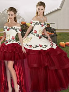 New Style Wine Red Lace Up Quinceanera Gown Embroidery and Ruffled Layers Sleeveless Brush Train