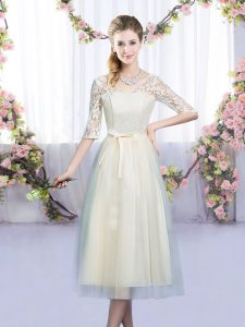 Chic Half Sleeves Tea Length Lace and Bowknot Lace Up Damas Dress with Champagne