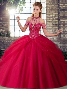 Chic Coral Red Sleeveless Beading and Pick Ups Lace Up 15 Quinceanera Dress