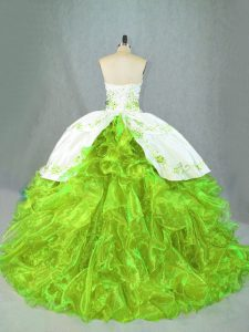 Green Quinceanera Gowns Satin and Organza Brush Train Sleeveless Beading and Embroidery