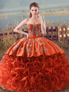 Decent Brush Train Ball Gowns Ball Gown Prom Dress Orange Red Sweetheart Fabric With Rolling Flowers Sleeveless Floor Length Lace Up