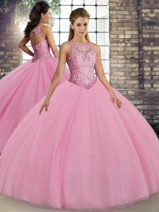 Scoop Sleeveless Tulle Quinceanera Gown Embroidery Lace Up