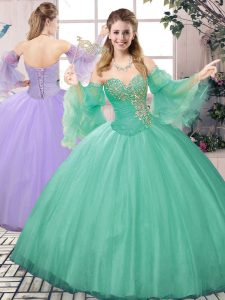 Hot Selling Turquoise Two Pieces Tulle Sweetheart Sleeveless Beading Floor Length Lace Up Quinceanera Dresses