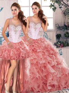 Beading and Ruffles Quinceanera Gowns Watermelon Red Clasp Handle Sleeveless Floor Length