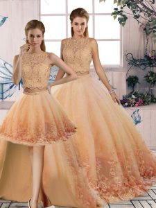 Hot Selling Peach Scalloped Neckline Lace Quinceanera Gowns Sleeveless Backless