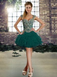 Best Selling Peacock Green Quinceanera Gowns Military Ball and Sweet 16 and Quinceanera with Beading and Ruffles Straps Sleeveless Lace Up