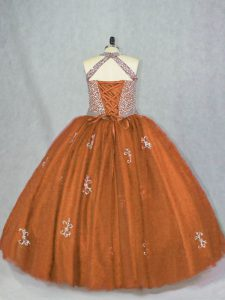 Comfortable Brown Quince Ball Gowns Sweet 16 and Quinceanera with Beading and Appliques Halter Top Sleeveless Lace Up