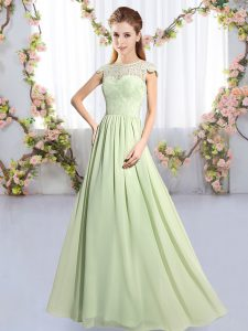 Custom Made Yellow Green Chiffon Clasp Handle Court Dresses for Sweet 16 Cap Sleeves Floor Length Lace