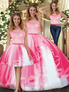 Simple Hot Pink Tulle Clasp Handle Scoop Sleeveless Floor Length Quinceanera Gowns Lace and Ruffles