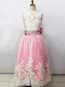 Exceptional Floor Length Pink And White Flower Girl Dresses Scoop Sleeveless Lace Up