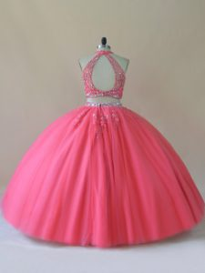 Floor Length Two Pieces Sleeveless Coral Red Sweet 16 Dress Backless