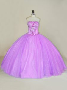 Lilac Tulle Lace Up Quinceanera Dresses Sleeveless Floor Length Sequins