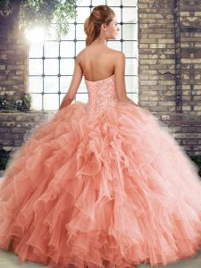 Sleeveless Tulle Floor Length Lace Up Quinceanera Dresses in Lavender with Beading and Ruffles