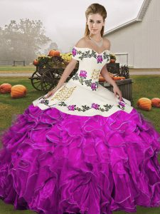 High End Embroidery and Ruffles Quinceanera Dress White And Purple Lace Up Sleeveless Floor Length